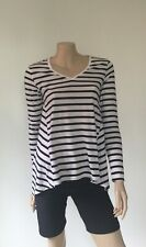 GIORDANO Relaxed Fit Top (M) Long Sleeve Top, Black & White Stripe