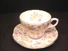 Foley Tea Cup Bone China Chintz Saucer Blue Accent Gold Trim