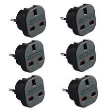 6 Travel Adaptor UK to EU Pin Convert Power European Plug Converter Euro BLACK