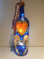 Dolphins Kissing Wine Bottle Lamp Hand Painted Lighted Stained Glass look