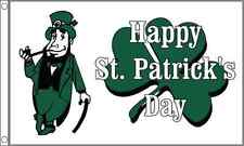 Happy St Patrick's Day Flag Large 5 x 3 FT - Irish Ireland Shamrock Leprechaun