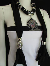 WOMEN SOFT FABRIC BLACK FASHION SCARF LONG NECKLACE PEACOCK PENDANT RHINESTONES
