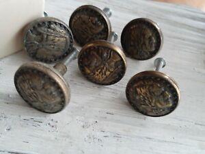 Vintage 1990s KBC Bronze Brass Indian Chief Head Cabinet Knob pulls Set 6