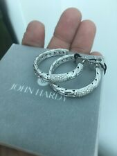 Sterling John Hardy Classic Chain diamond hoop earrings NWT. Retails for $1,550