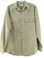 Mens 15 1/2 Medium Work Shirt tan Button Down long sleeve  uniform