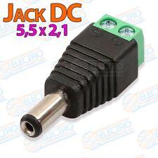 Adaptador alimentacion conector Jack 5,5x2,1 DC - Macho - Lote 1 unidad - Arduin