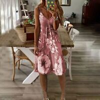 Pink Women's V-neck Floral Print Fit & Flare Summer Dress - Sizes - 10 to 20