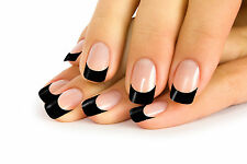 12 FRENCH FALSE NAIL TIP CLEAR NAILS WITH BLACK TIPS IN 10 SIZE + 2 g. GLUE