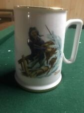 Norman Rockwell Mug Cup Coffee Nautical Braving the Storm 1984 Gold Trim