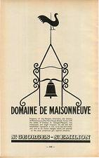 """ADVERT """" Mini Poster """" Bordeaux Domiane De Maisonneuve St Gearges Emilion Map"""