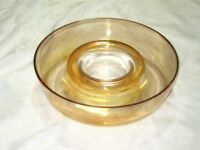 A Vintage Iridescent Peach Lustre Carnival Glass Style Float Bowl Ring Vase