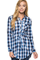 SHE + SKY Womens Blue Red Plaid Long Sleeve Belted Tunic Shirt Top Blouse S M L