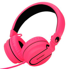 RockPapa Adults Kids Girls Folding Headphones Mic Headsets iPhone Mobile PC Pink