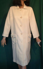 Vintage 60s 70s White Double Knit Coat B44