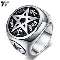TT 316L Stainless Steel Pentacle/Inverted Pentagram Ring Size 7-15 (RZ134) NEW