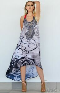 Silk Satin Sleeveless Up-Down Maxi Dress with Embellishment, high low style Maxi