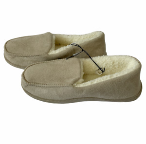 Tan Slippers Cozy Sherpa Moccasin House Shoe Pull On Anti Skid Womens Size 10/11