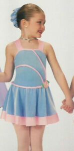 GROUP LOT of 3 Child Extra Small BLUE Sisters Lyrical Dance Dress Costume