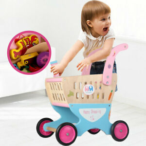 Kids Toddler Wooden Shopping Cart Toy Shopping Trolley Pretend Play Shop