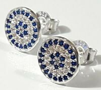 Evil Eye Crystal cz Stud Earrings 925 Sterling Silver 10mm Round Clear Blue cz