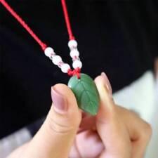 Vintage Ethnic Style Imitation Jade Leaf Necklace Red Rope Pendant Jewelry