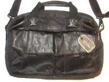 Marc New York Andrew Marc Fairfield Canvas Messenger Briefcase Bag Top Zip Black