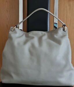 Emporio Armani Womens Grey Leather Large Hobo Handbag with Magnetic Closure