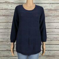 NEW Gap Factory Textured Knit Crew Neck Sweater MEDIUM Navy Blue Cotton