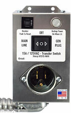 Furnace Transfer Switch, Generator  15 Amp 120 VAC Manual EZ DIY Install