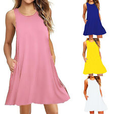 Women Summer Round Neck Sleeveless Solid Slim Dress Casual Blouse Loose Sundress
