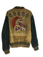 Vintage Guess Leather Indian Chief Head Varsity Jacket Native American Quilted