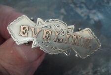 RARE Victorian Sterling Silver & Gold Name Brooch h/m 1895 Birmingham - EVELINE