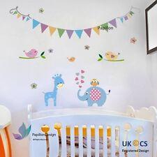 Colore di Compleanno Bandiera giraffa/elefante/Farfalla Nursery Baby Adesivo Decalcomania Muro