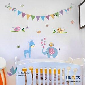 Birthday colour Flag Giraffe/Elephant/Butterfly Nursery Baby Wall Decal Sticker