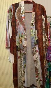 Boho Vintage Gypsy Floral Patchwork Print Kimono Duster Cardigan Robe Coverup S