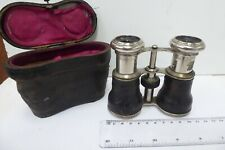 ANTIQUE BINOCULARS CHROME BRASS LEATHER  FIELD GLASSES IN CASE  MARKED 8 LENSES