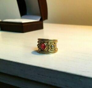 18k Ring - Byzantine Etruscan Style Ruby & Diamond - 7.69g - LABOR DAY SALE!!