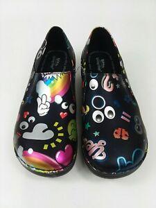 Spring Step Professional Nursing Shoes Walking Black Emojis Women's Size 8 NEW