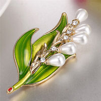 Enamel Pearl Leaf Brooch Rhinestone Crystal Brooch Pin Women Collar Jewelry  CE