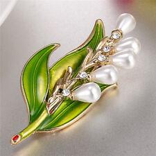Enamel Pearl Leaf Brooch Rhinestone Crystal Brooch Pin Lady Collar Jewelry Hu