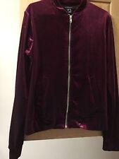 Primark Dark Cerise Pink Velvet Long Sleeve Silver Zip Bomber Women's UK Size 6