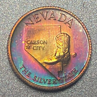 NEVADA Proof Franklin Mint Sterling Silver Mini Coin - Rainbow Toning