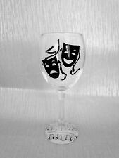 Theatre, music decoupage wine glasses,  comedy and tragedy masks, drama masks