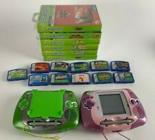 2x Green / Pink LeapFrog Leapster Learning Handheld Game System Lot w/ 17 Games