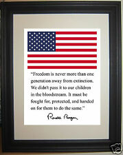 Ronald Reagan American Flag Autograph Quote Framed Photo Picture #hk2
