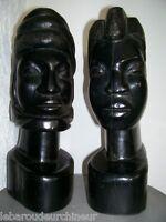 paire tete en ébène femme et homme fine african art premier primitif tribal art