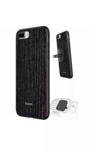 Iphone 7 Plus 8 Plus Case Black Cover + Car Vent Mount Holder By Evutec