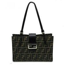 FENDI Zucca Pattern Shoulder Bag Brown Canvas Leather Vintage Used