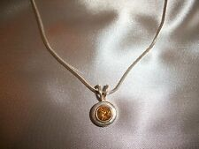 Sterling Silver .925 Citrine Pendant Necklace Signed ESPO Sig 19""