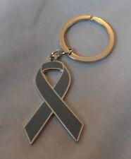 ***NEW*** Brain Cancer / Tumor Awareness ribbon enamel keyring.Charity, badge.
